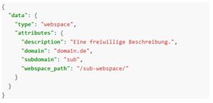 Beispiel: Anlegen einer Subdomain über die API