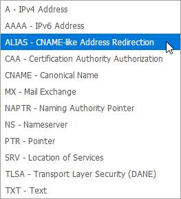 """Auswahl des Typs """"ALIAS"""" im Kundenmenü"""