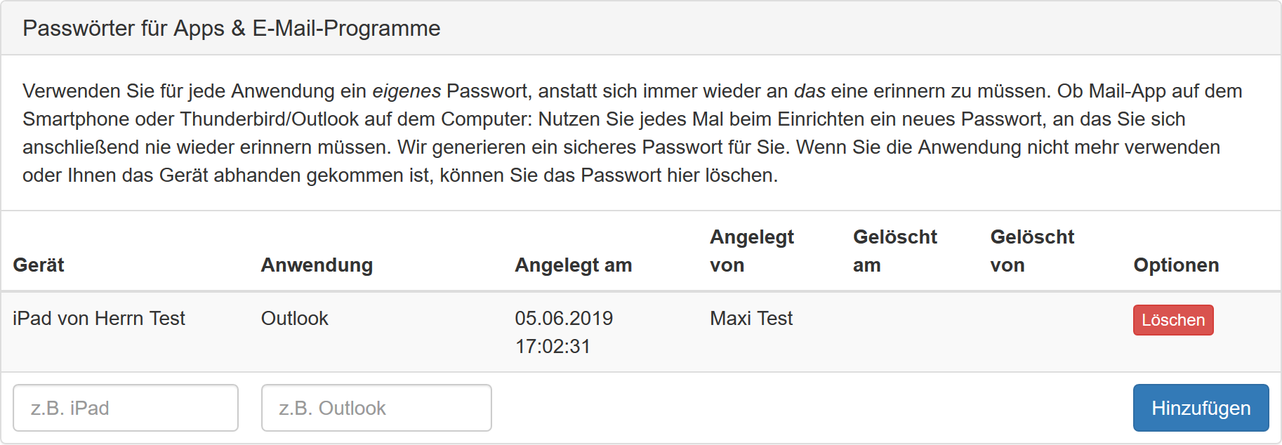 Ansicht von Application Passwords im Kundenmenü
