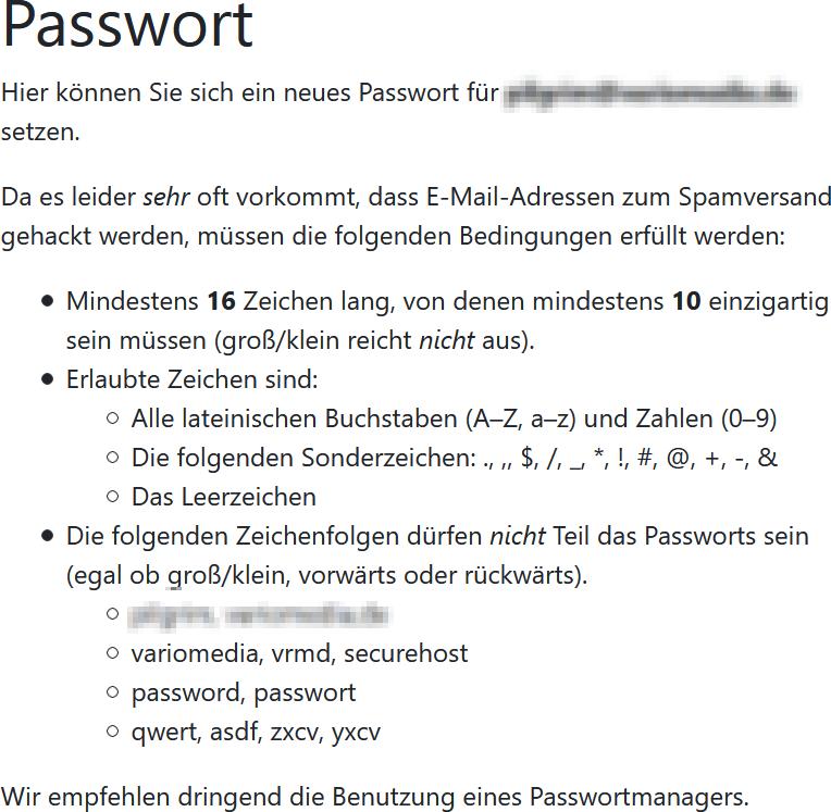 Passwort-Regeln